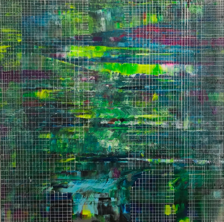"""Line up screens 150x50"""" acrylic on canvas"""