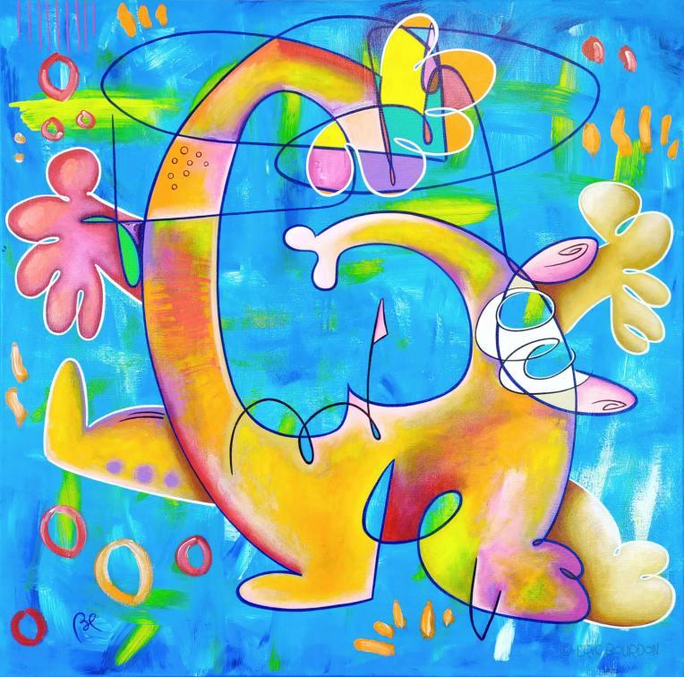 BURNOUT-80x80cm-Acrylic-painting-by-Eric-Bourdon