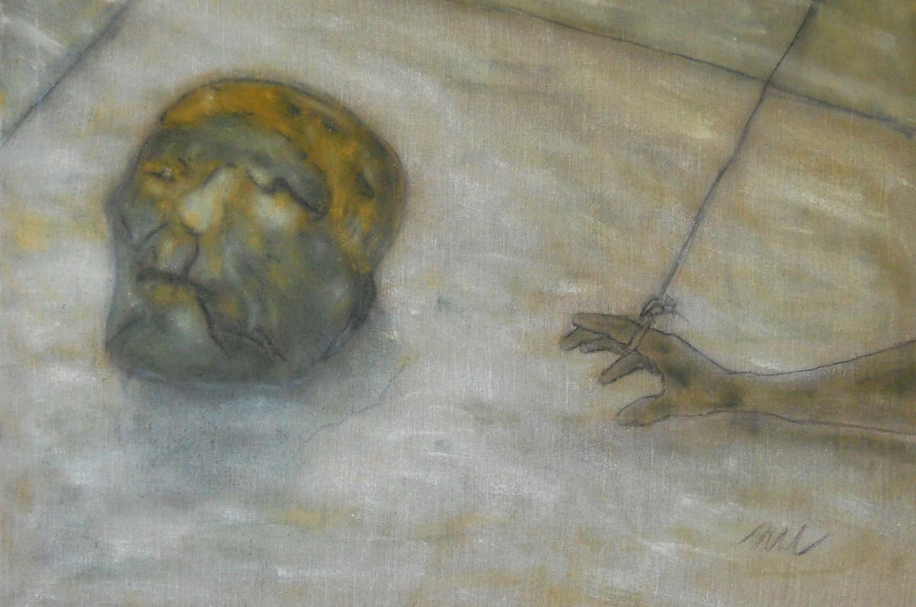 Courtoisie, oil on canvas 97 x 60 cm