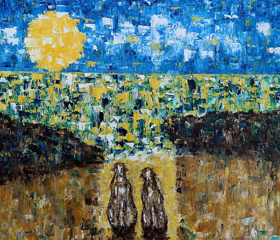 IMAGE 7 TWO DOG WATCHING THE SUNSET oil paint